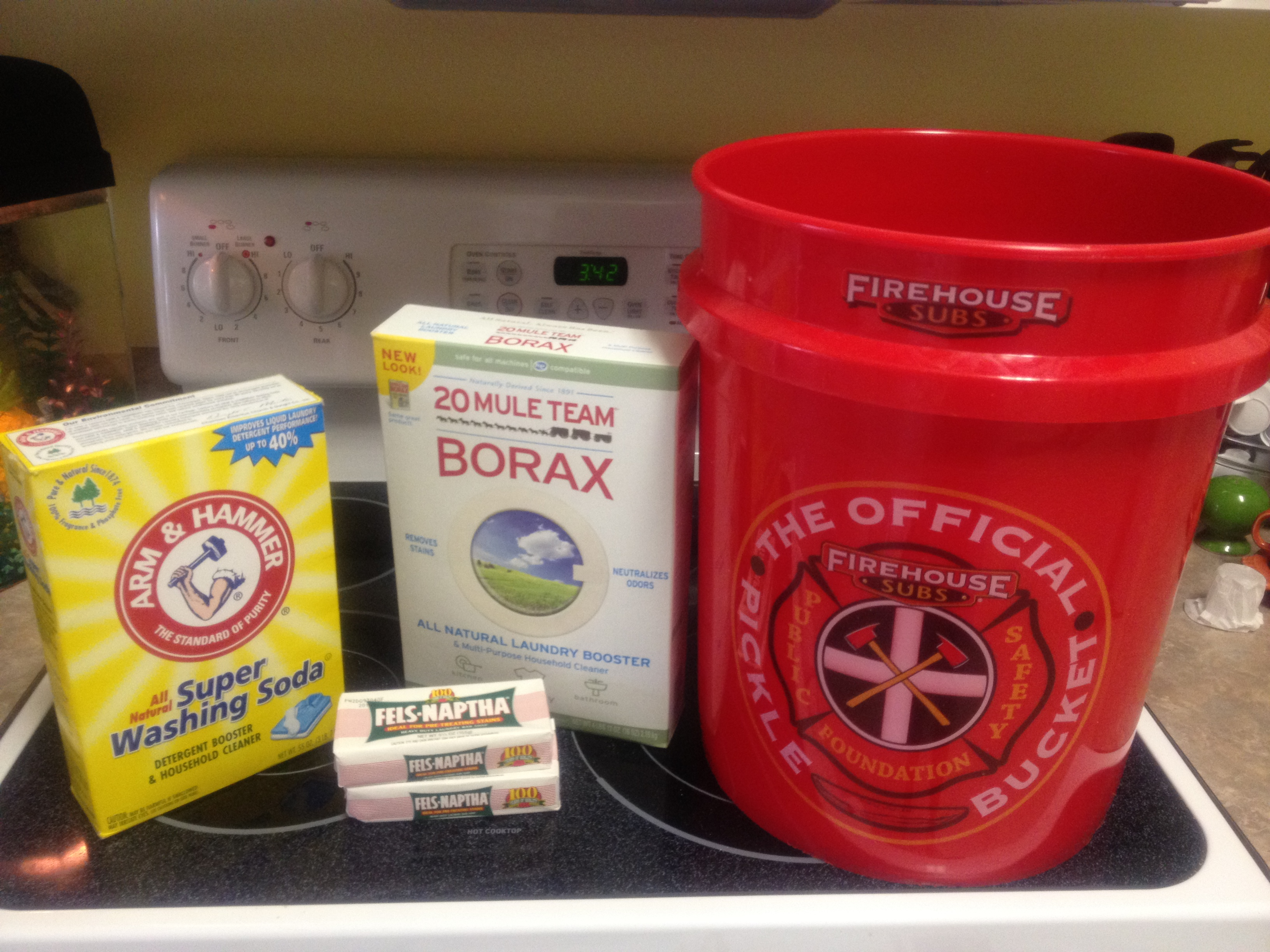"""""""Washing soda"""", Borax, a 3 oz. of soap of your choosing and a 5-gallon bucket. Fels-Naptha is a popular choice for its stain-fighting power."""