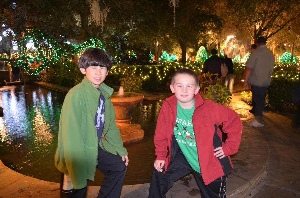 The boys happen to be in holiday-looking green and red jackets. This was purely accidental...