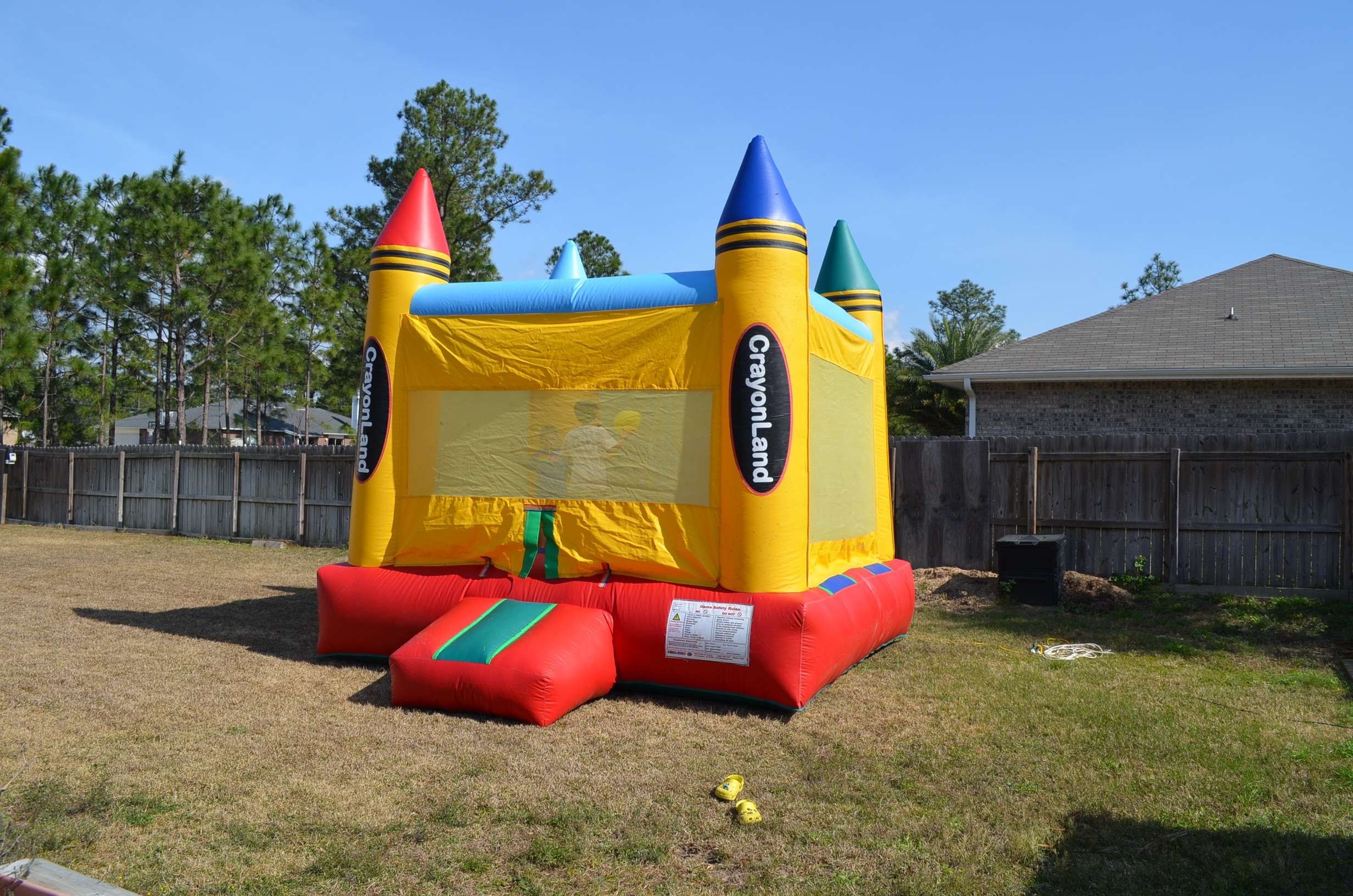 The bouncy house, rented from Hurlburt Field Outdoor Recreation.