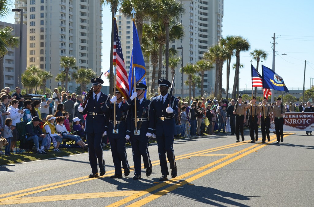 The start of the parade - the Hurburt Field honor guard, followed by the Navarre High School NJROTC honor guard.