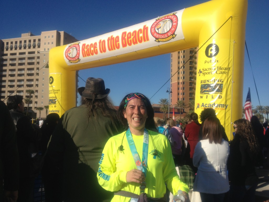 Bright shirts, bright sky! This year I ran the 15K in my fastest time!