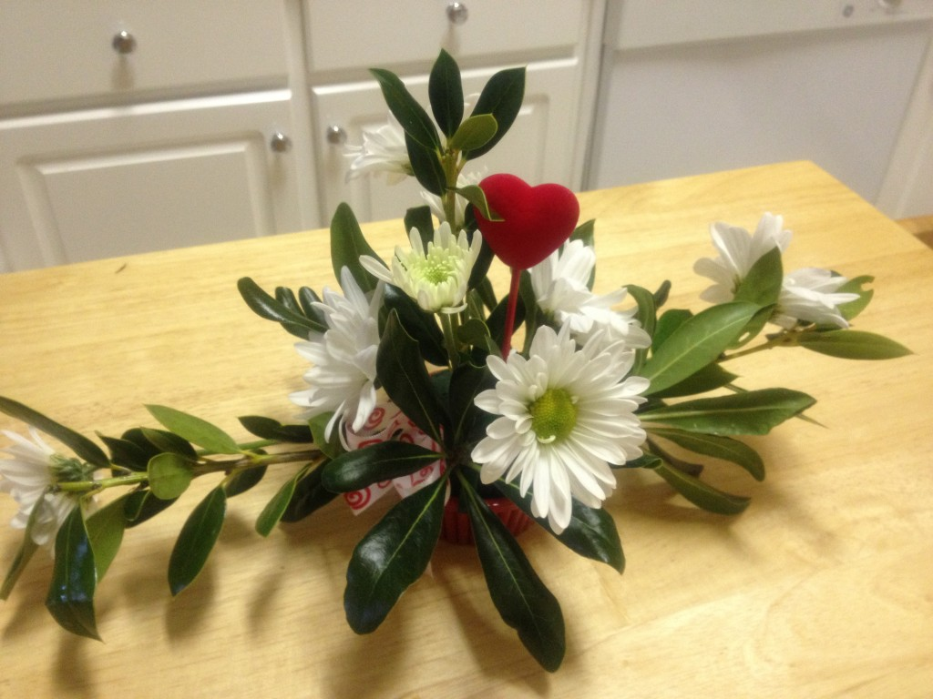 Jacob made this small flower arrangement at school! They learned a few elements of design and about symmetry.