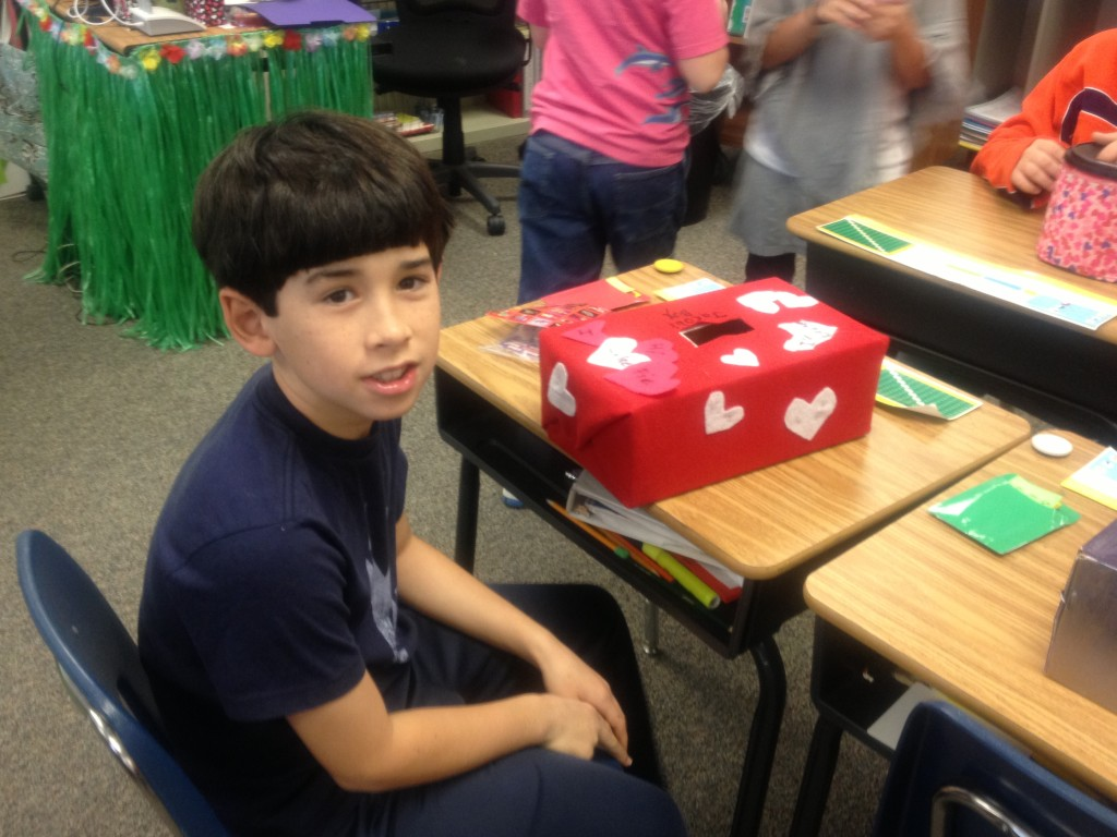 Then I went to Jacob's class for a Valentine's Day party. The kids all decorated their own boxes. Jacob's is covered in felt.