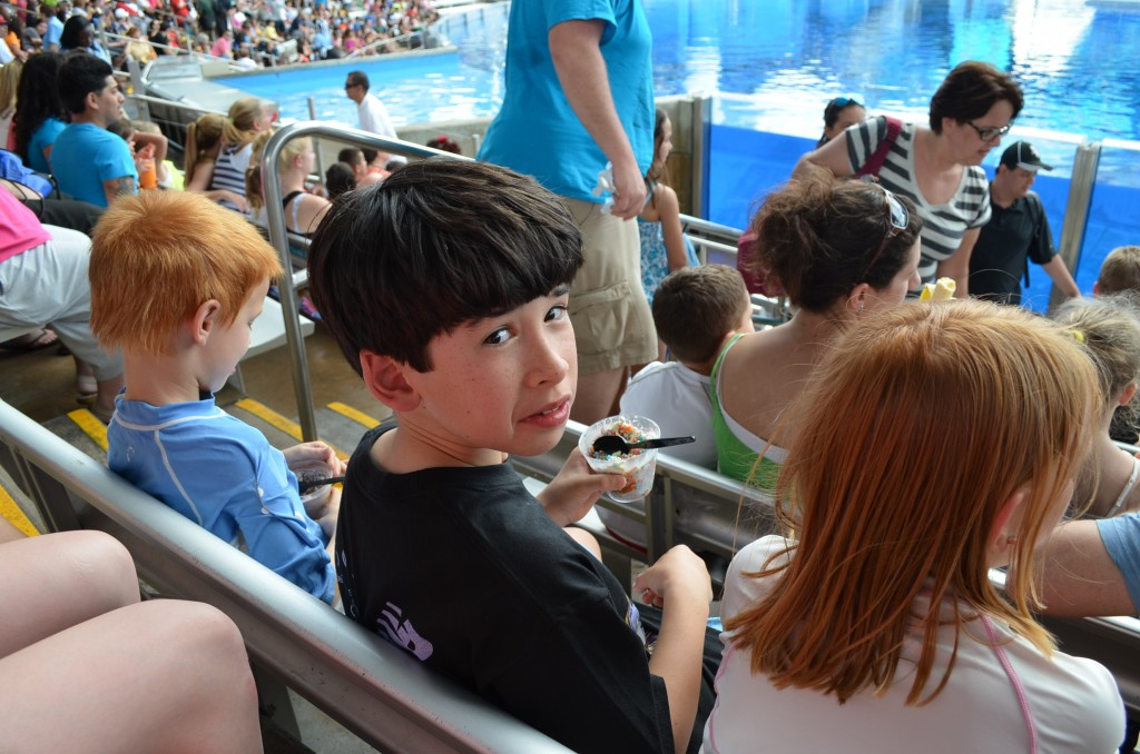 At the Shamu show...we got there nice and early so we could sit in the splash zone...