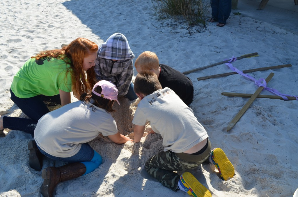 The kids learned how sometimes the turtle egg locations have to be moved to protect as many eggs as possible. They replicated moving the eggs by digging up and transplanting ping pong balls.