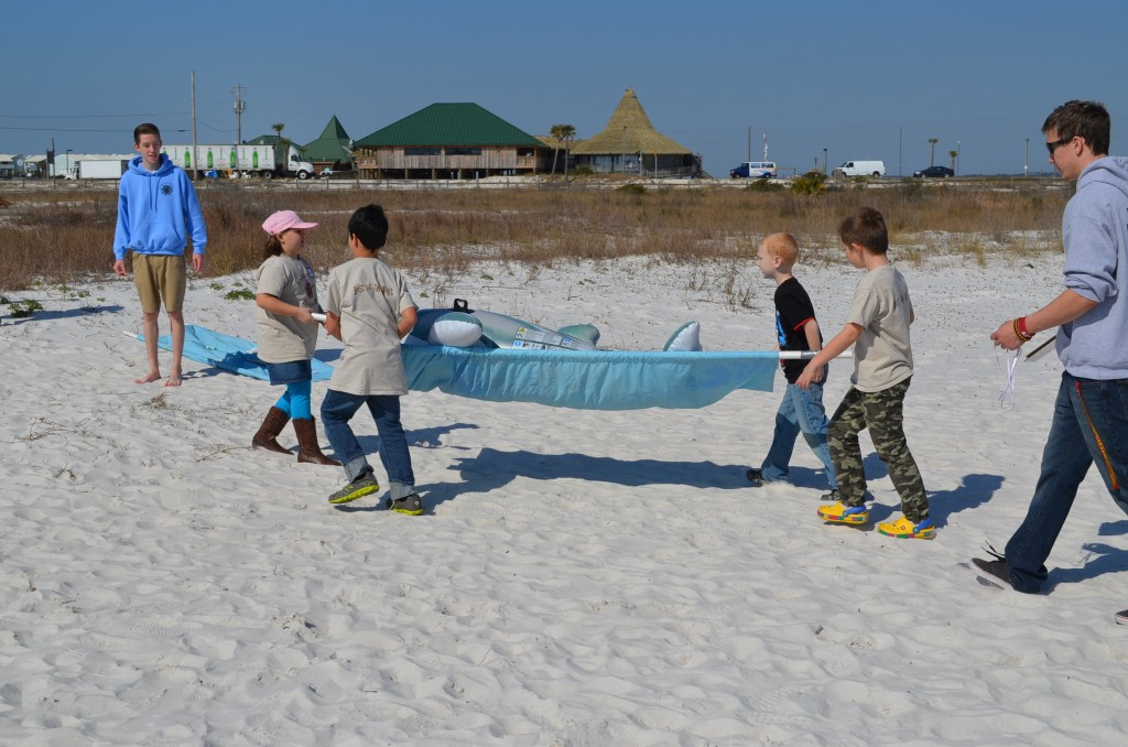 The kids learned about how you can transport dolphins on a stretcher.