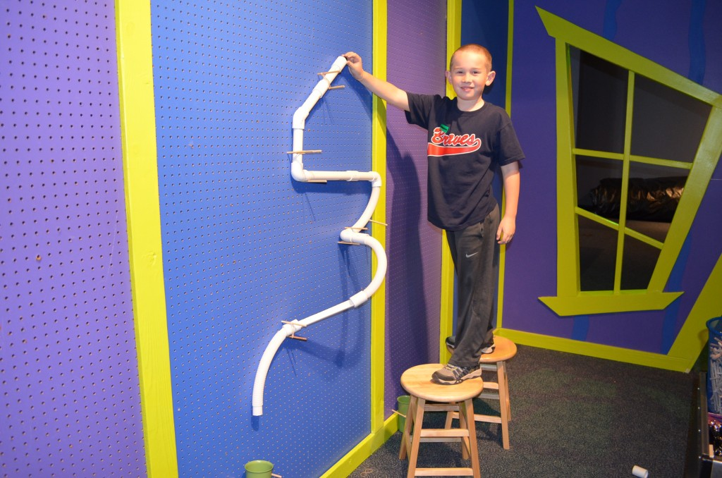 "Timmy's ""so tall I needed a stool"" marble run. He wanted to make sure I could capture the three dimensions in his creation.  ""Like Aquaduck"", he told me."