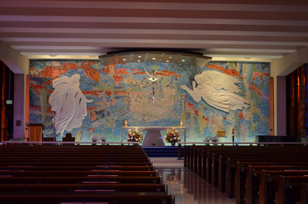 This is the Catholic Chapel, which is down below the Protestant chapel. Read more about it here. http://en.wikipedia.org/wiki/United_States_Air_Force_Academy_Cadet_Chapel#Catholic_Chapel