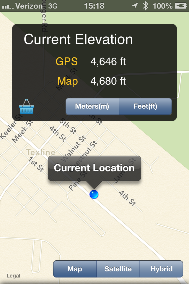 I took this screen shot from the Current Elevation app somewhere in Amarillo, during our lunch stop, probably.
