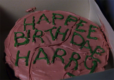 ...versus Hagrid's cake for Harry!