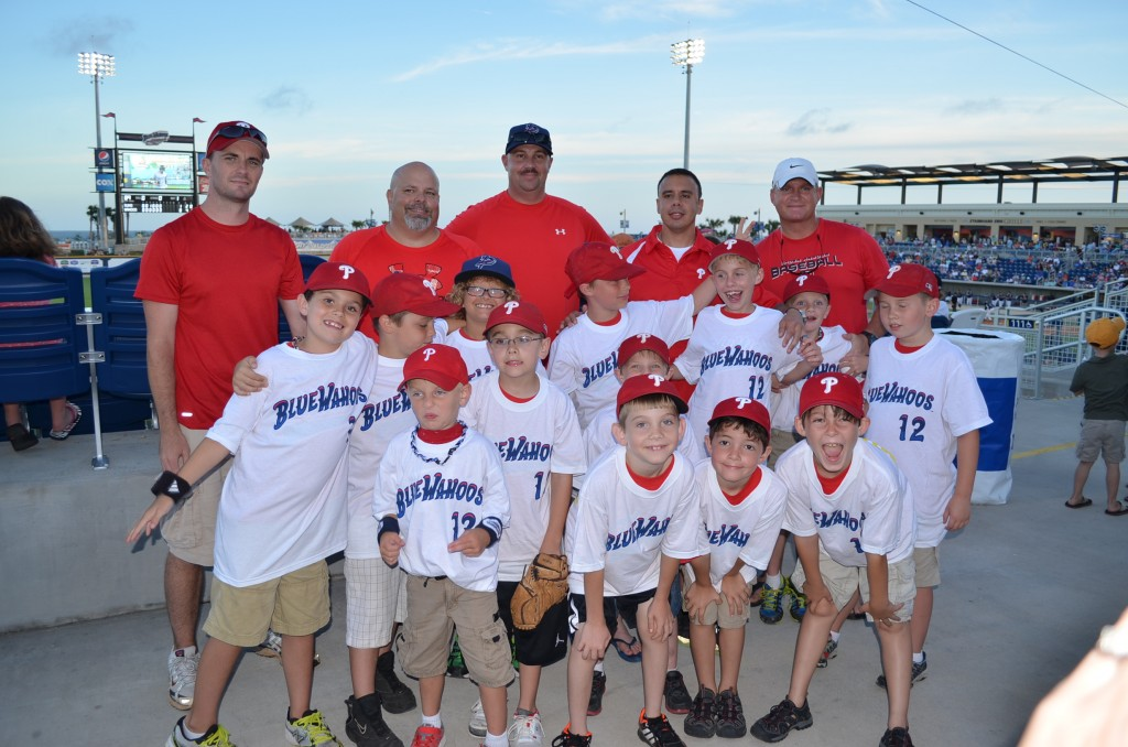 A fine finish to a great baseball season. Our youngest son's baseball team celebrated with the Pensacola Blue Wahoos.