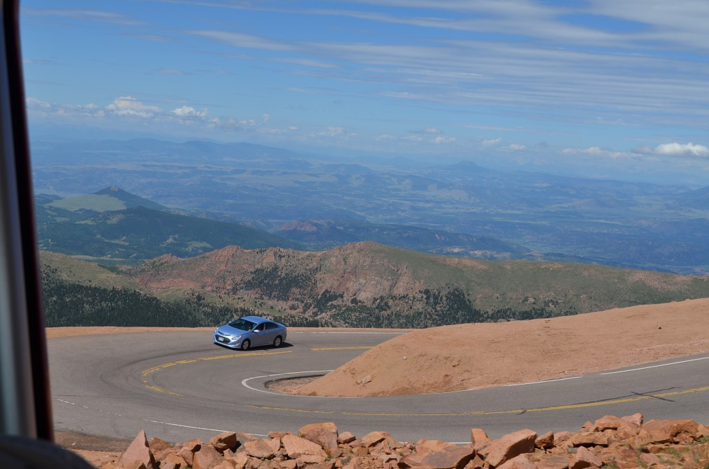 Just before the summit we got a great view of the Pike's Peak road.