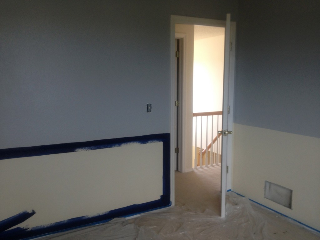 Oops, our grey color choice wasn't going to look very well against red in Timmy's room.
