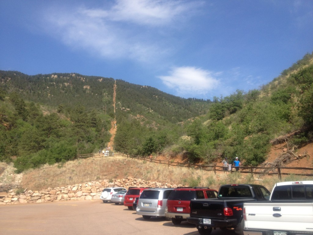 See that brown vertical gouge in the mountainside? That's the remnants of an incline railroad that is now a popular fitness spot.