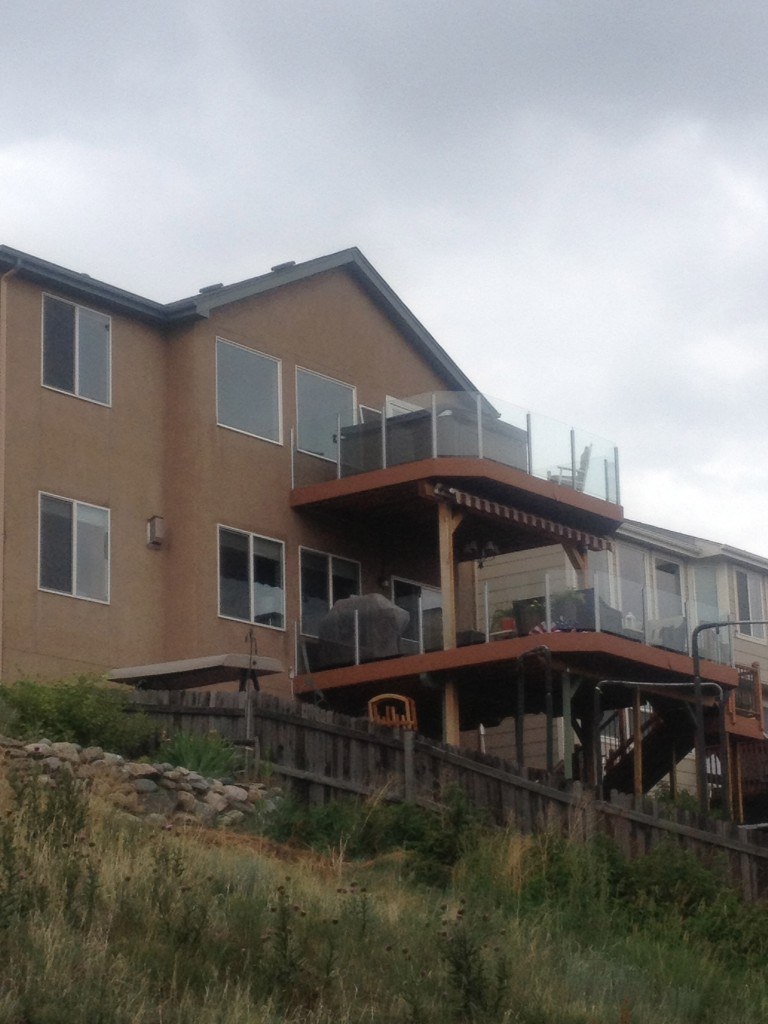 I got a kick out of this house with a double-decker deck...with the hot tub on the uppermost deck!