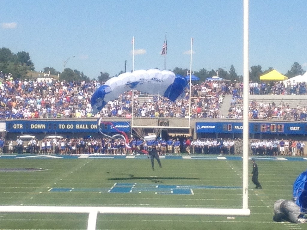 Air Force football is an experience like no other. From singing the Air Force song to the Wings of Blue jumping onto the field, it's probably one of the more inexpensive NCAA football experiences.