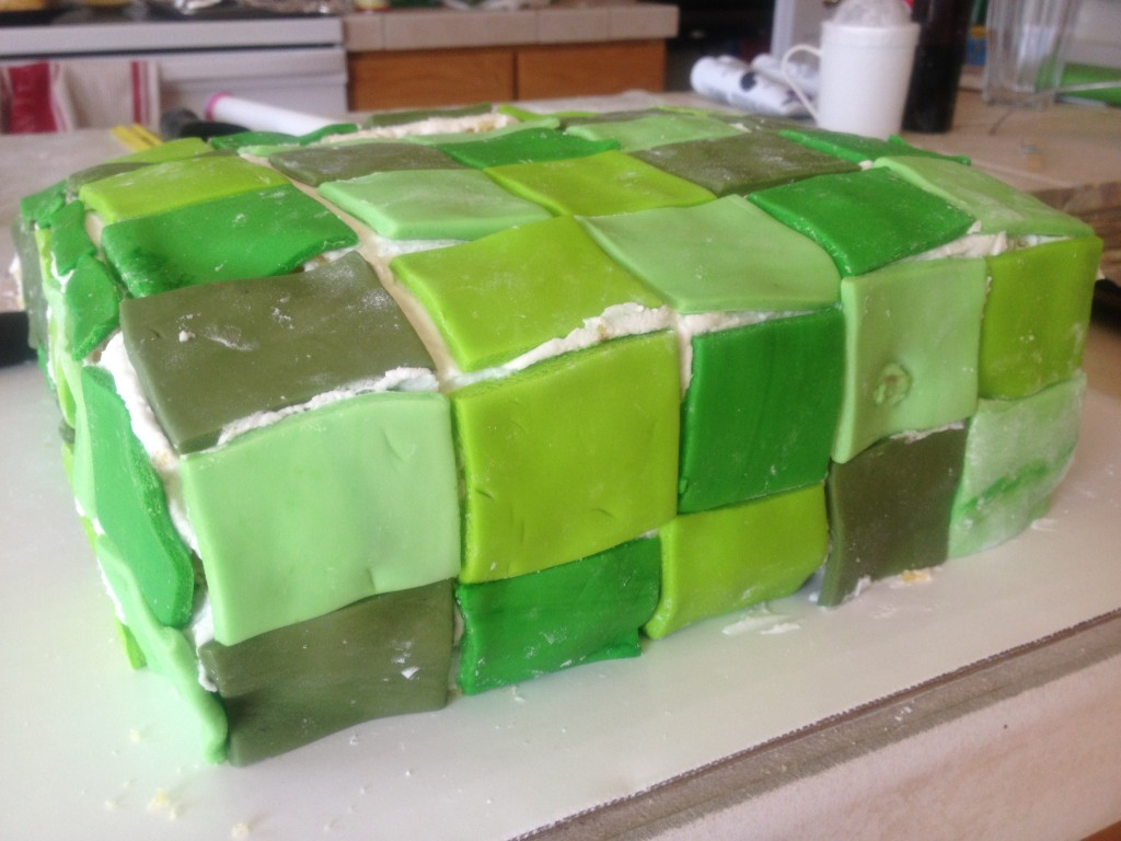 I was okay with the tiling of the fondant at this point. Read on and watch the de-evolution of the Creeper.