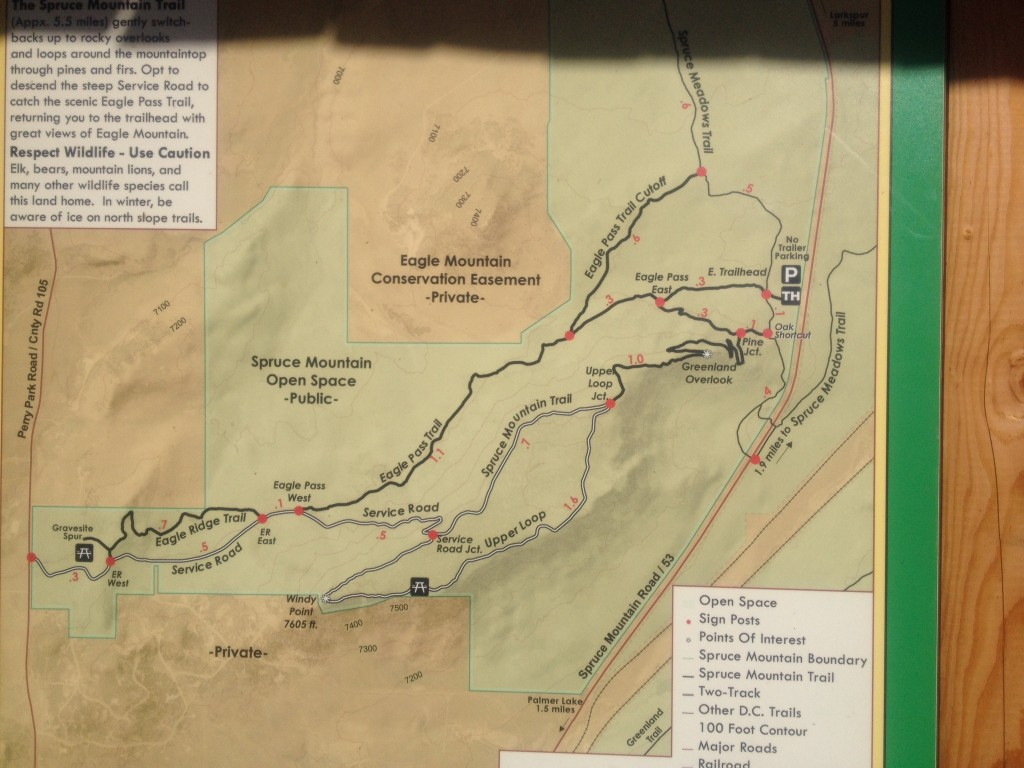 A map of the trails available here. We started in the upper right and headed towards the lower left.
