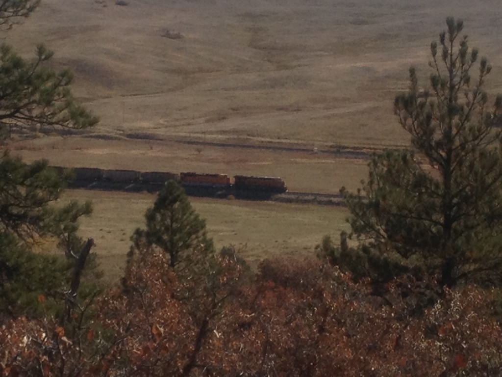 At every vantage point along the southern trail are views of the BNSF railroad tracks.