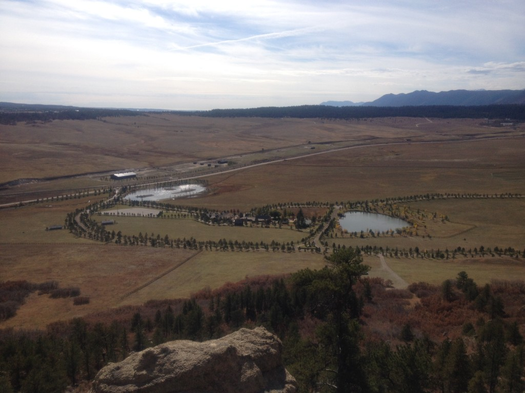 A view down to the Spruce Mountain Ranch just south of the open space.