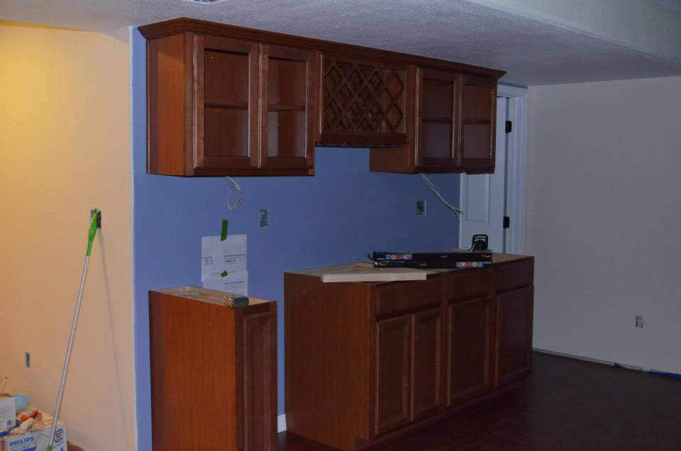 The bar cabinetry.
