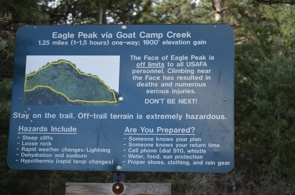 "I'll just leave this here. The yellow line on the sign is NOT a trail, it's the area deemed ""off limits"" by the AF Academy superintendent. The north-facing rock walls at the top of the peak."