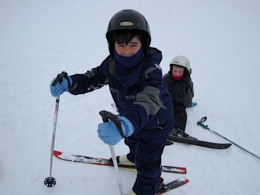 Jacob and Timmy getting used to their first day of skiing...ever...at Mount Crescent, Iowa. Read more about Mount Crescent here.