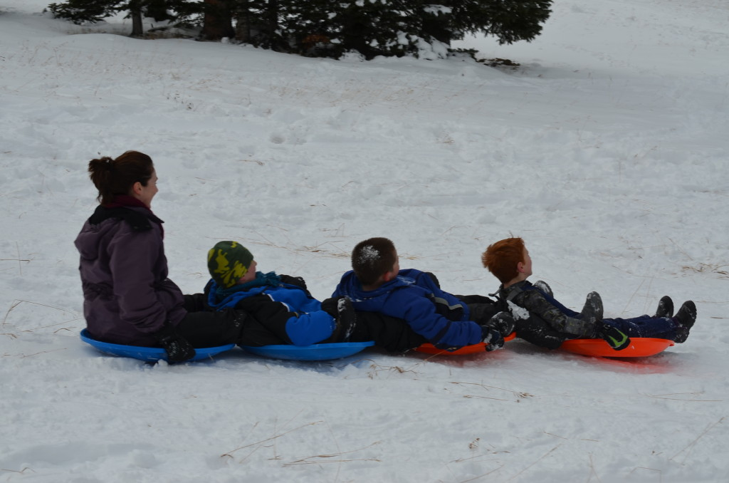 You want to see happy kids, take 'em sledding!
