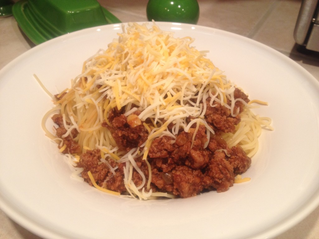 Not the prettiest dinner, but my boys devour it! This is two-way Cincinnati chili.