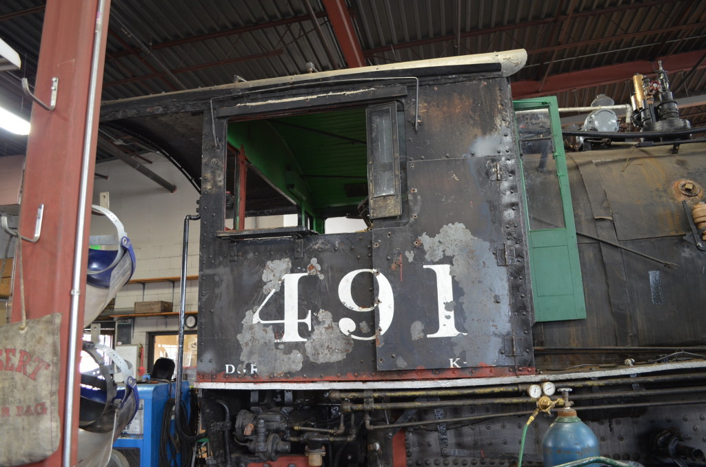 The Denver & Rio Grande Western No. 491 is currently in the restoration shops.