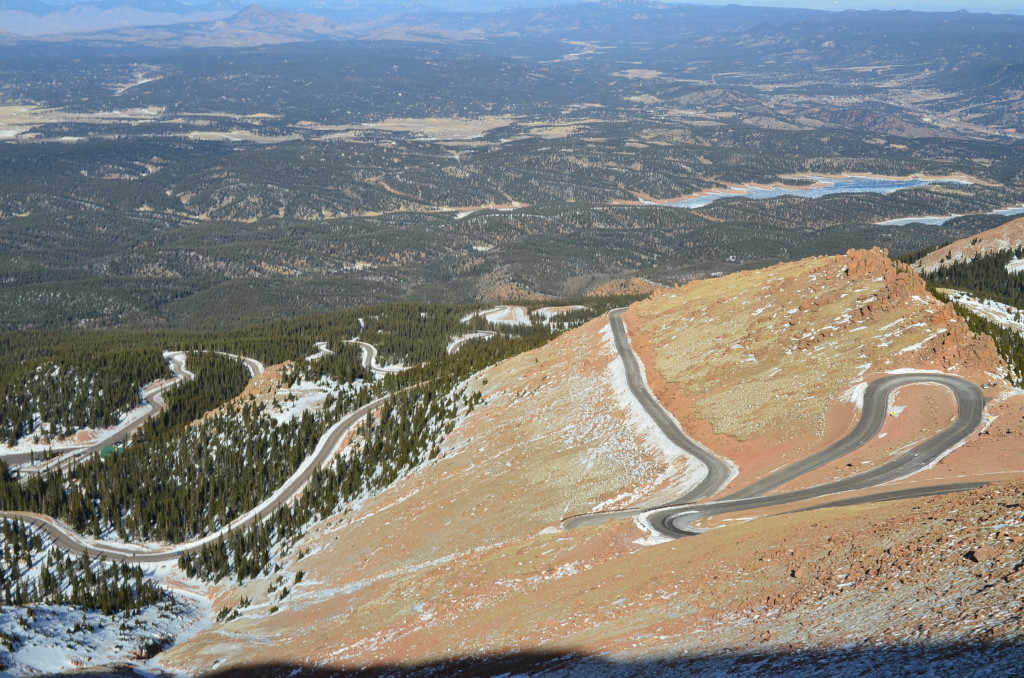 That's the road we had just come up. Read on to learn more about the Pikes Peak Highway.