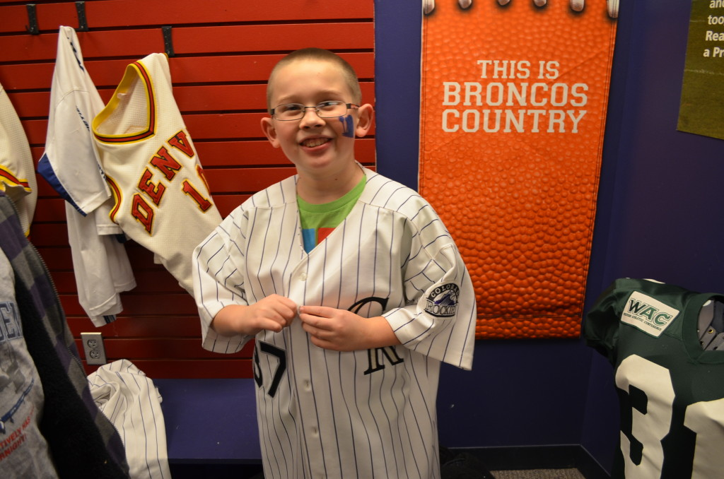 There's an awesome kids room where kids can play dress up with real players' uniforms -- not just major league, but also Colorado State, University of Colorado, and other college teams.