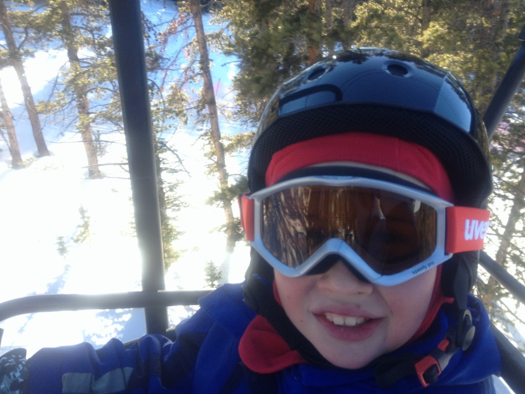Timmy on a chair lift.