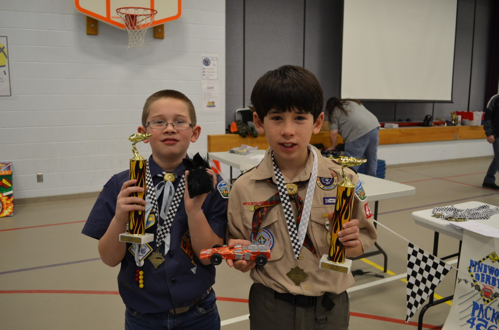 Our winners! We're so proud of our boys this year. Not only did they do most of the work (really!), their cars performed very well.