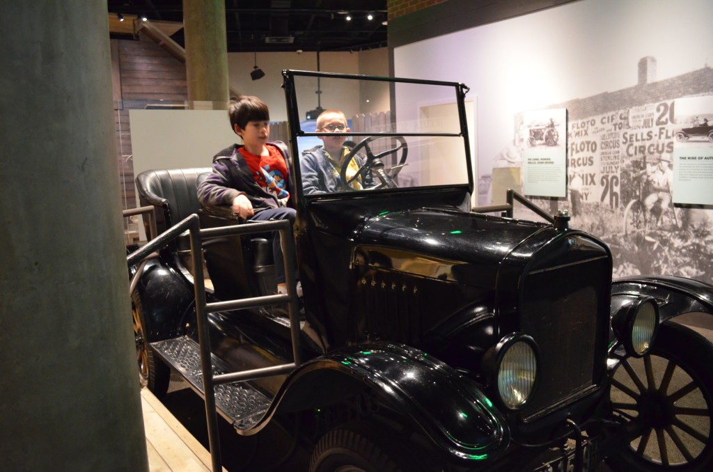 The kids were able to sit in this Model T Ford and view a projector screen in front of them as it drove through some pretty rugged plains terrain. They have to stop for cattle and a dust devil. The car shook over the rough road. It's a very cool exhibit for kids.