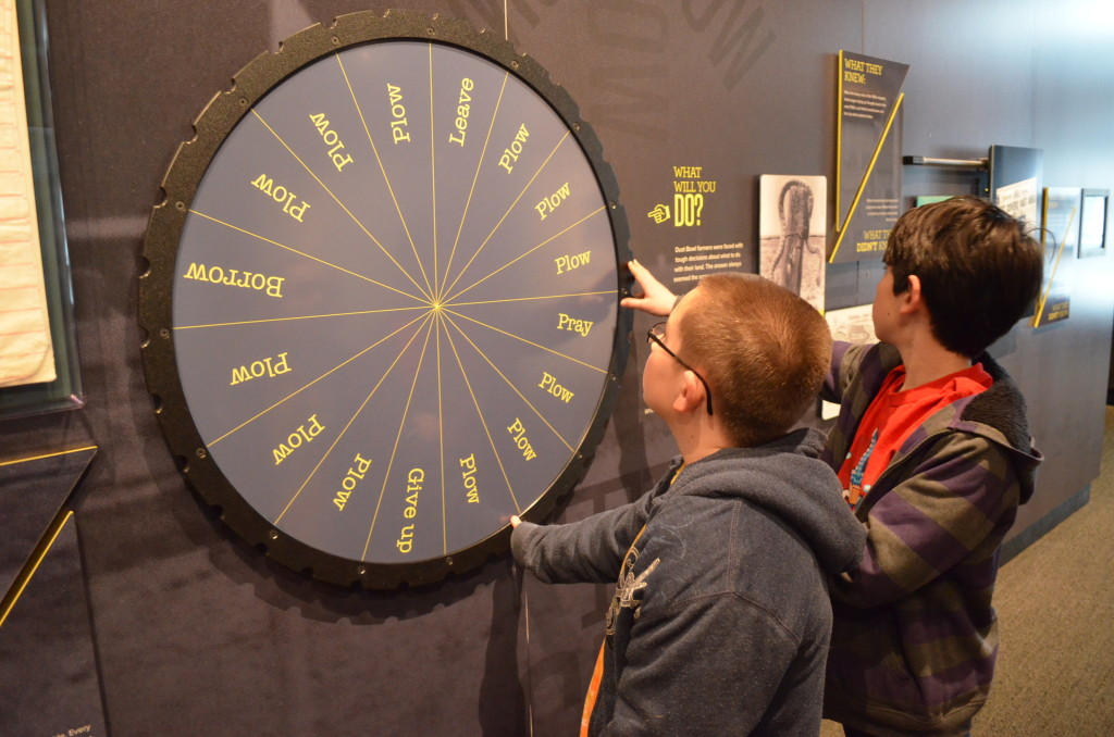 Here the boys spun a wheel showing what options farmers had when facing hard times. As you can see, there weren't many choices.