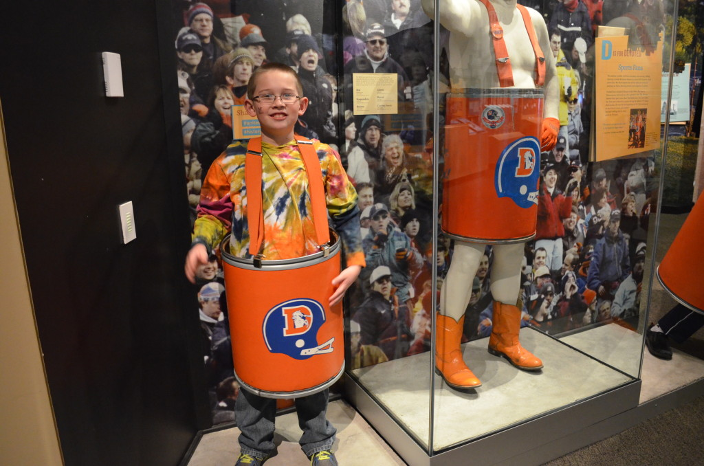 """Of course there's a large area dedicated to the Broncos. The """"Barrel Man""""'s family donated his barrels to the museum after he passed away in 2009. Mockups of the barrels are available for the kids to model."""