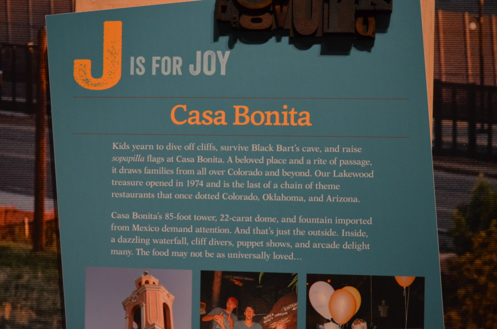 """I was so excited to see this here. Under """"J is for Joy"""", there is homage paid to Casa Bonita. They include an entire clip from Comedy Central's """"South Park"""", which is played over and over with permission from Colorado Natives Trey Parker and Matt Stone."""