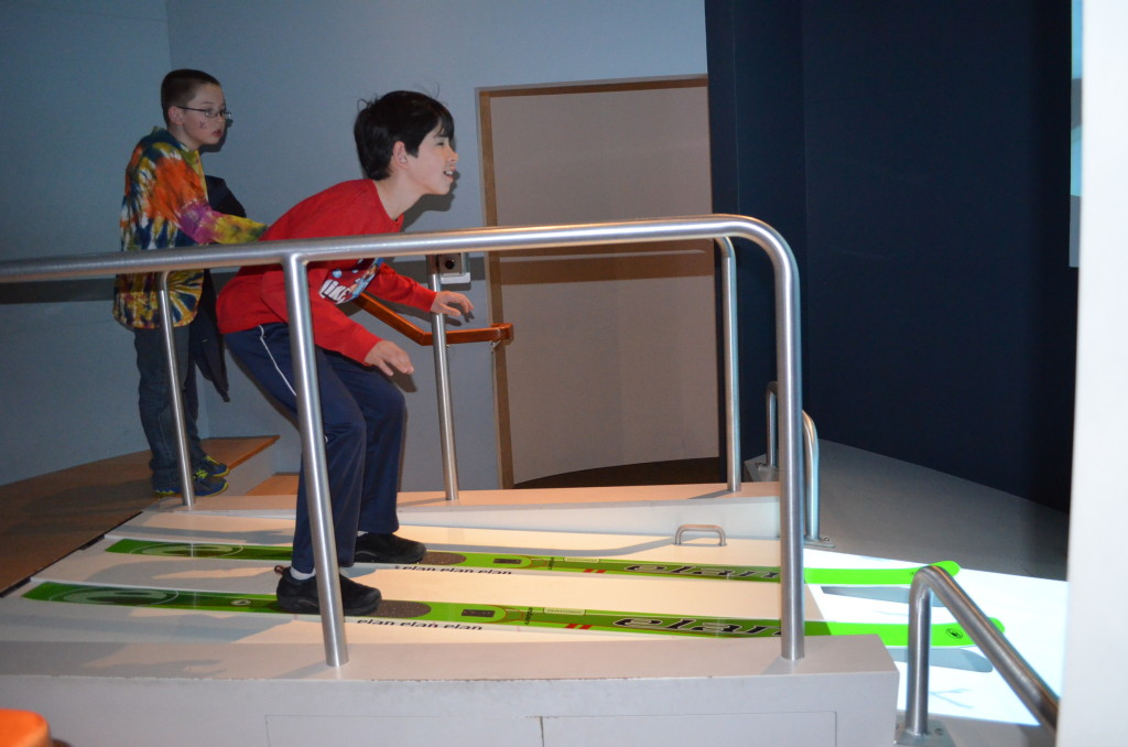 Jacob trying his hand at the ski jump. He kept crashing, while Timmy succeeded every time. We still don't understand why.