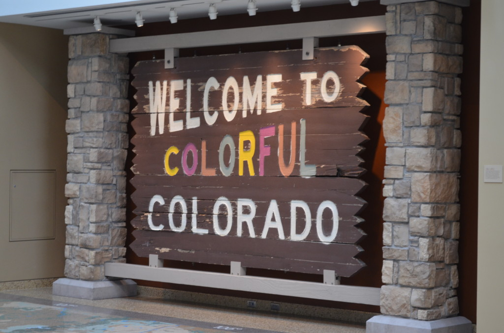 """Signs such as these welcomed folks to the state. The paint in the word """"colorful"""" has mostly faded to white in the signs scattered throughout the state."""