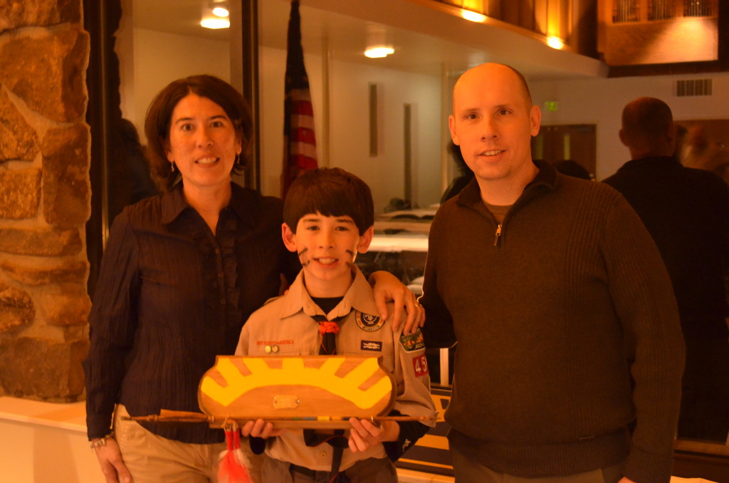 Jacob's crossover into Boy Scouts. He has an Arrow of Light Award. He had to build and decorate the arrow himself.