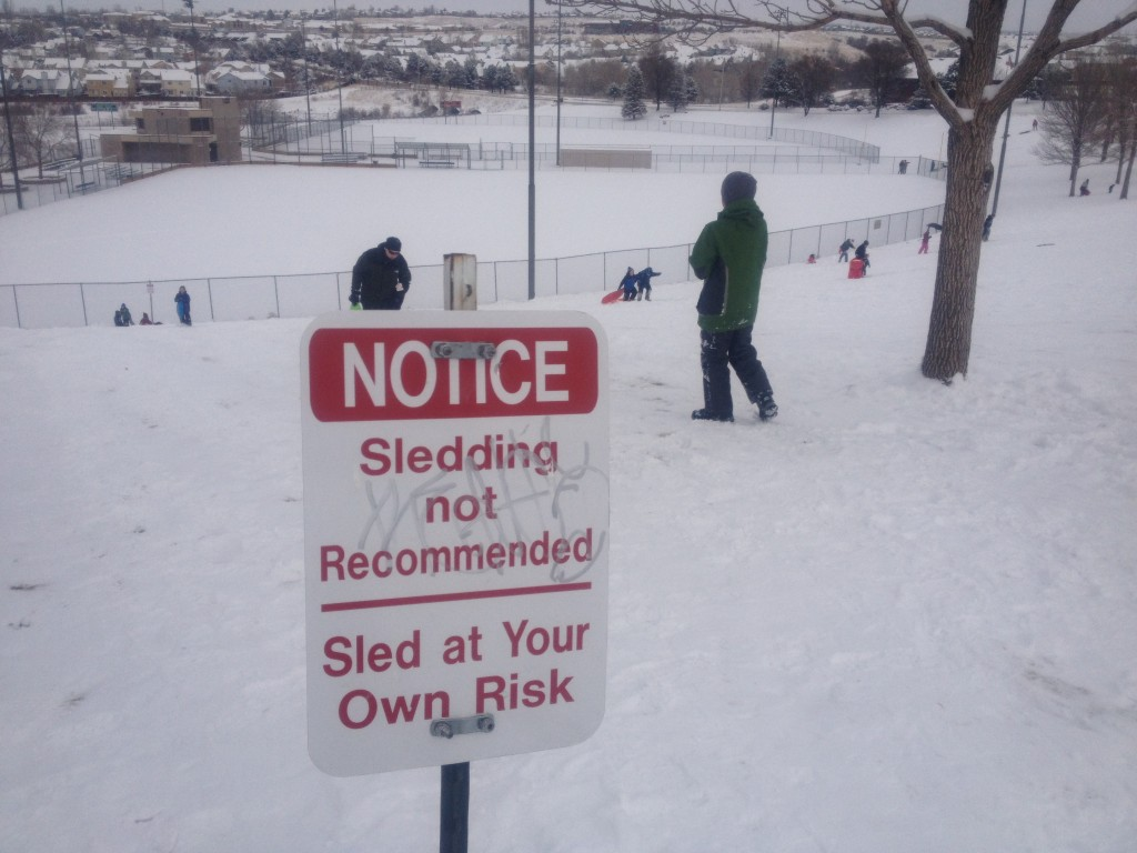 Despite the signs, everyone sleds! I'm sure it's the city just covering their butts.