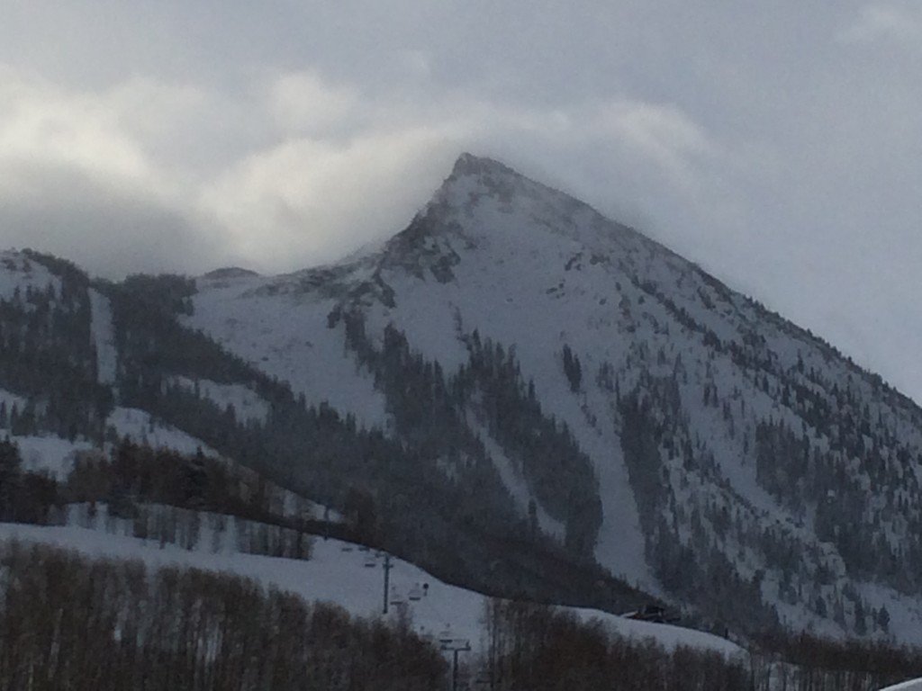 This is the Crested Butte, which is the profile used in the resort's logo. The peak had quite a personality; I could have watched the clouds over it all day.