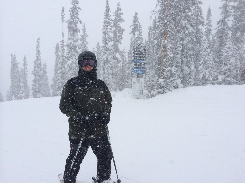 Dave at the top of the Silver Queen lift. We had off and on snow squalls all morning on our last day.