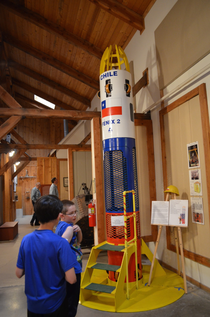 A replica of the rescue chute that was constructed for the Chilean miner rescue of 2010. Kids were able to climb inside and experience how narrow it was. This was part of the scavenger hunt the boys completed before our guided tour.