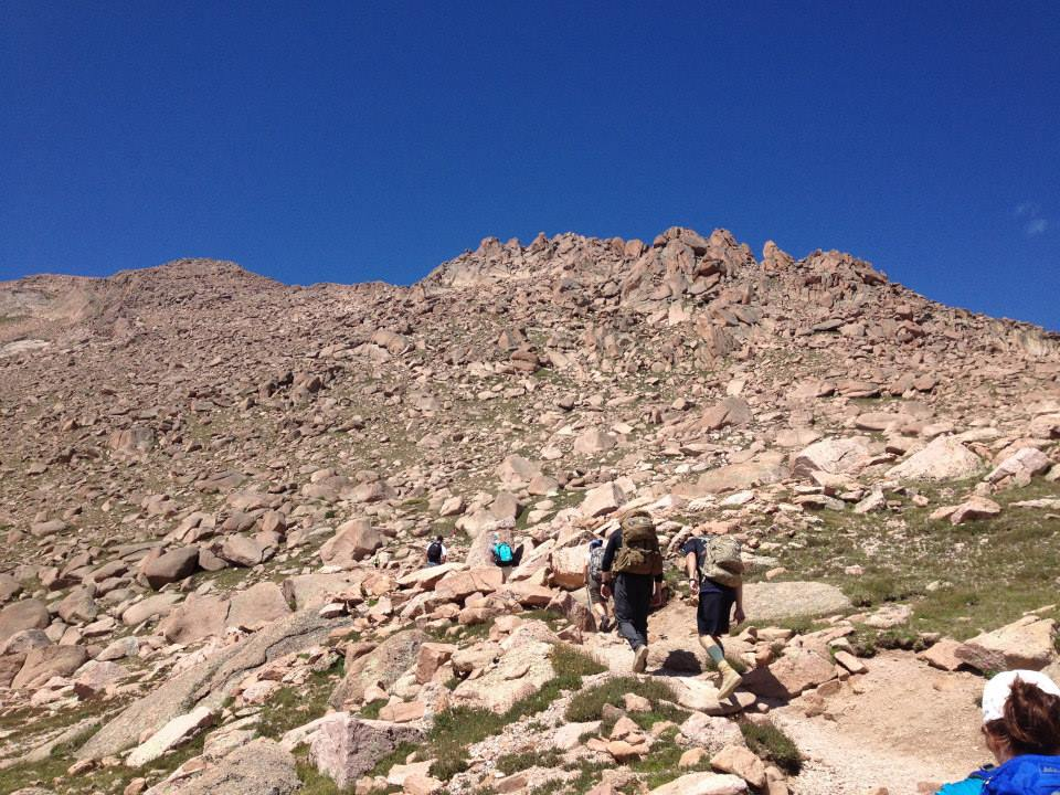 This is the perfect picture of what the above-treeline hike is like on the Barr Trail. Rocks, rocks, and more rocks.