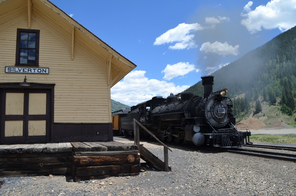 We saw the locomotives maneuvering around the rail yard near the old historic Silverton station. There is a small museum inside the station, and several old rail cars on display outside.