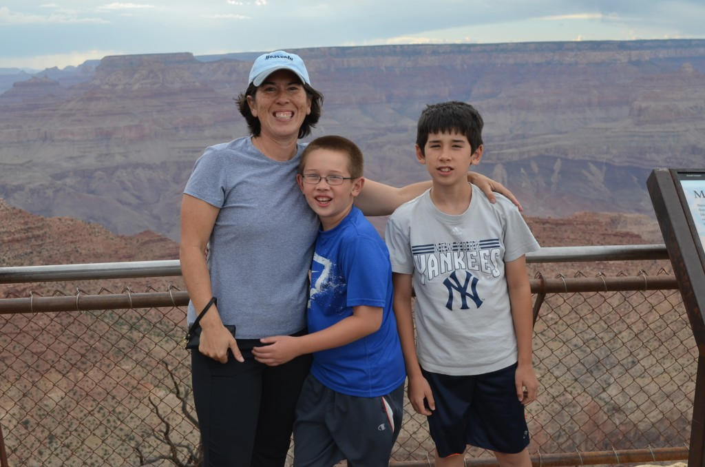 Enjoying our first views of the canyon at the Desert View overlook.