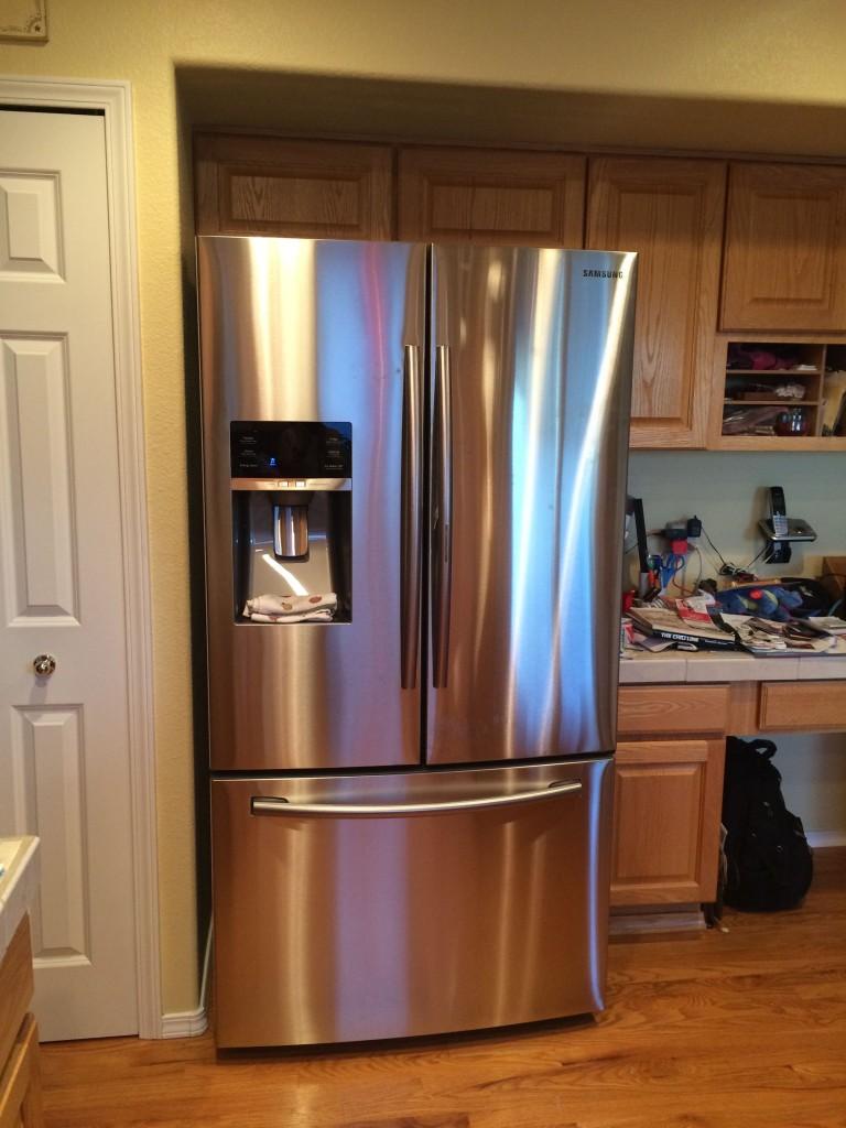 The new fridge. It's so shiny!