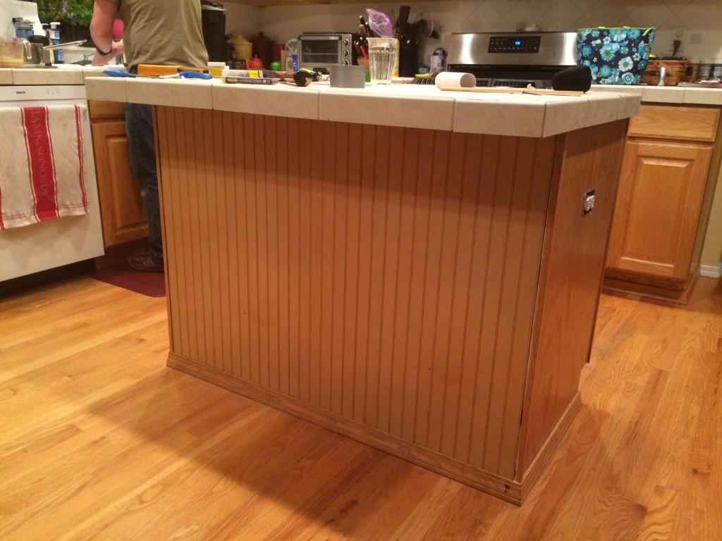 Tonight we added some beadboard to the kitchen island.